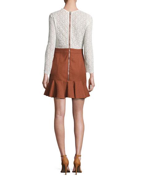 Bex Lace & Gabardine Flounce Dress, White