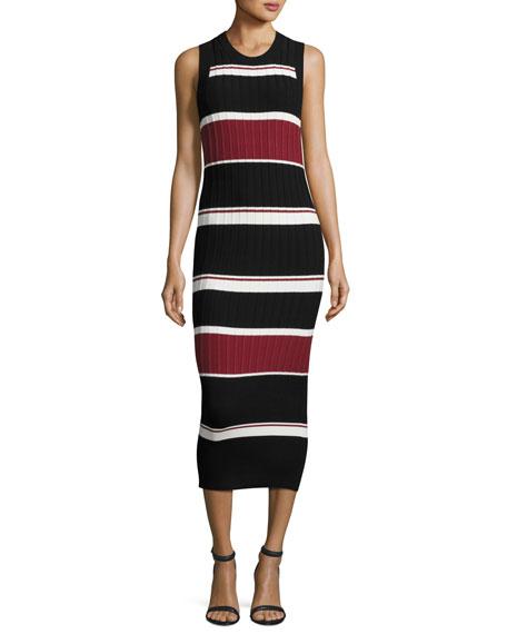 Macgraw Sleeveless Striped Midi Dress, Black