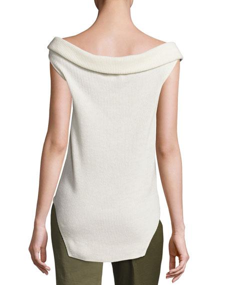 Stone Cap-Sleeve Ribbed Silk-Blend Sweater, Ivory