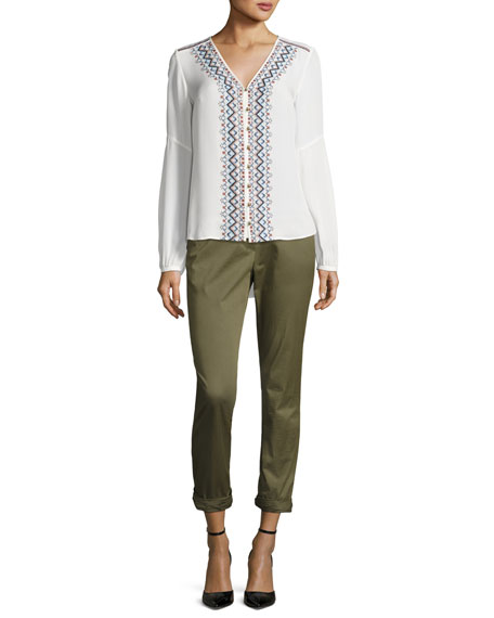 Dream Long-Sleeve Embroidered Silk Blouse, Off White