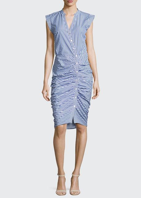 0cc3ce47ae1 Veronica Beard Sleeveless Ruched Striped Shirtdress