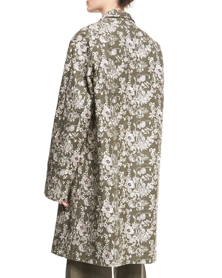 Floral Embroidered Car Coat