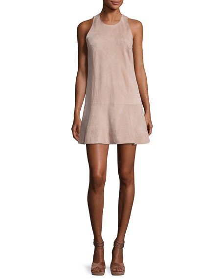Amedia Suede Sleeveless Mini Dress, Blush