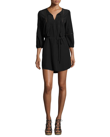 Saxona Split-Neck Silk Mini Dress, Black