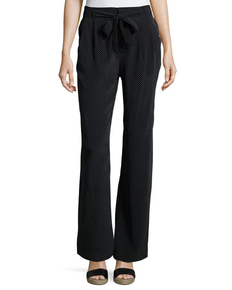 Joie Gaynell Dot-Print Silk Paperbag Flare-Leg Pants, Black