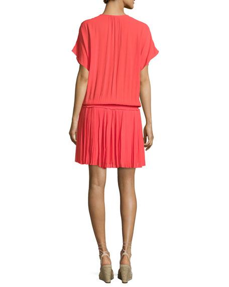 Bryton Smocked-Waist Blouson Dress, Coral