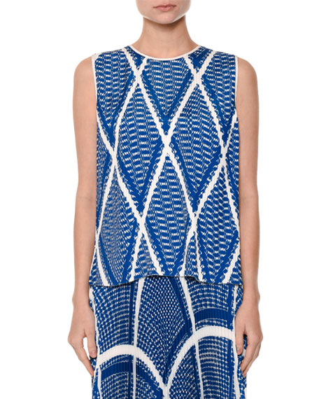 Modern Argyle Plissé Shell Top, Blue
