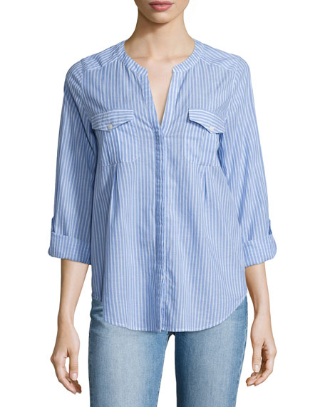 Kalanchoe Striped Poplin Shirt, Blue/White