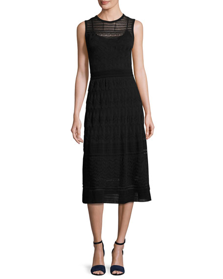 Sleeveless Rib-Stitched Midi Dress, Black