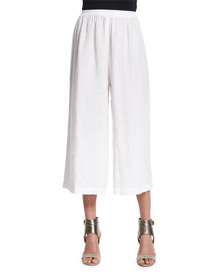 Flared Linen Cropped Trousers