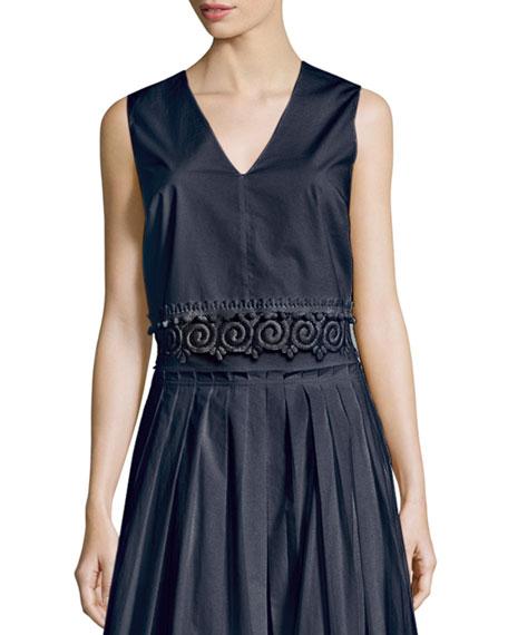 Sleeveless Lace-Trim Cotton Shell