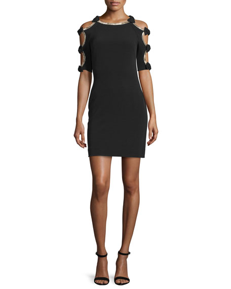 Jenny Packham Bow-Sleeve Sheath Cocktail Dress
