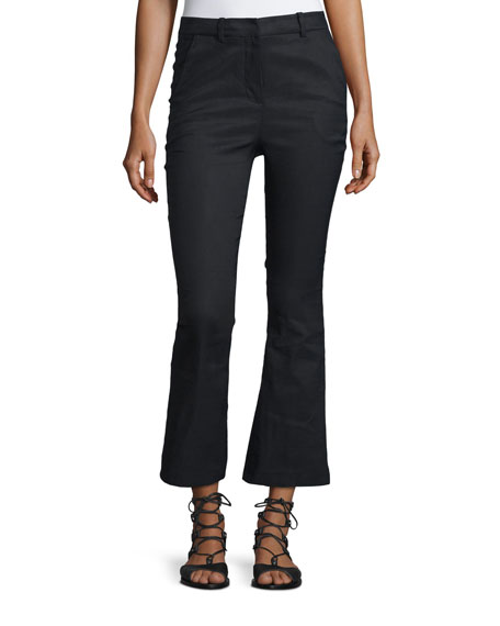 Cropped Flare Linen-Blend Trousers