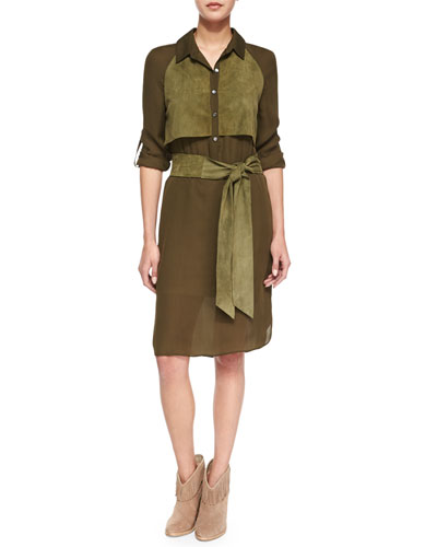 Long-Sleeve Two-Tone Belted Dress, Military