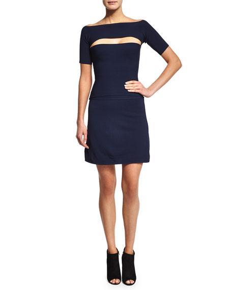 Full-Needle Knit A-Line Skirt
