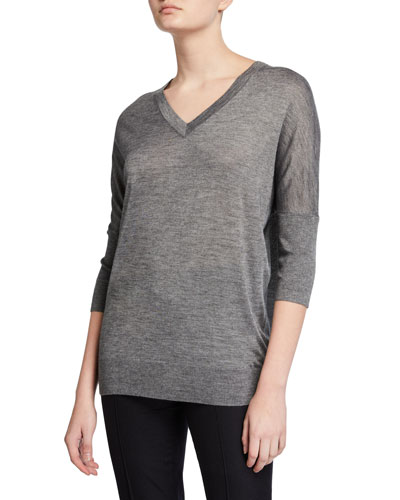 Cashmere-Silk 3/4-Sleeve V-Neck Sweater