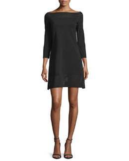 3/4-Sleeve Mesh-Trim Ponte Cocktail Dress, Nero