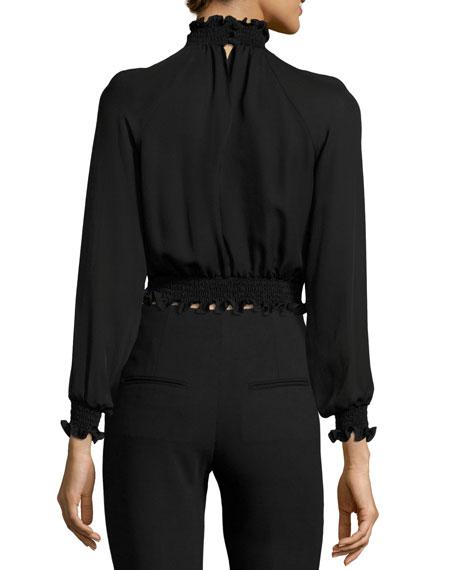 Hera Cropped Frill Silk Blouse, Black