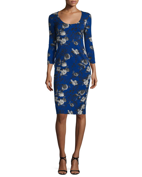 3/4-Sleeve Floral-Print Sheath Dress