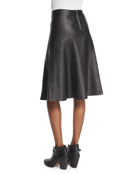 Kelly Leather A-Line Skirt, Black