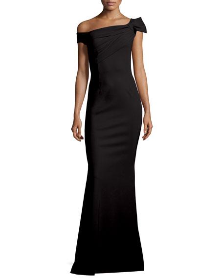 Grazie Asymmetric Mermaid Gown, Nero