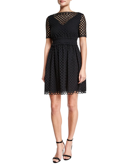 Short-Sleeve Eyelet A-Line Dress, Black