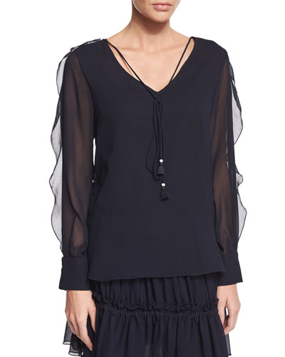 Sheer-Sleeve V-Neck Georgette Blouse