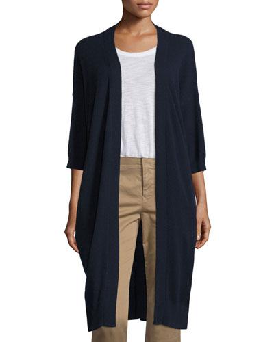Cashmere 3/4-Sleeve Long Cardigan