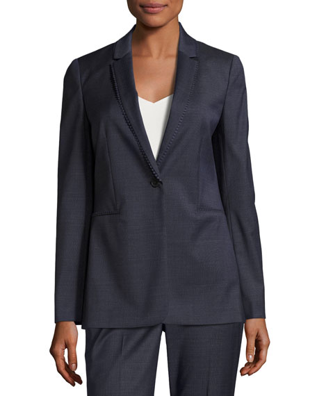 Maysa Dot-Trim One-Button Blazer Jacket