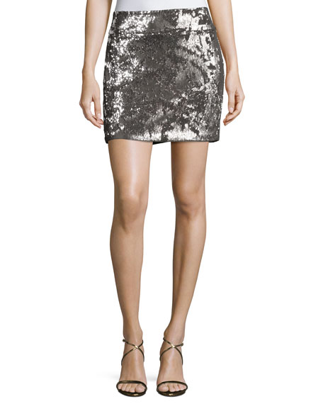 Sequined Mini Skirt, Antique Silver
