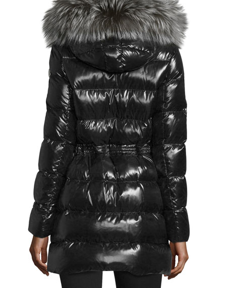 Aphrotiti Shiny Quilted Down Coat w/Fur Hood