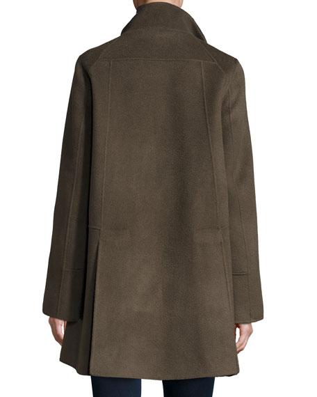 Double-Faced Wool-Blend Swing Coat, Deep Mocha