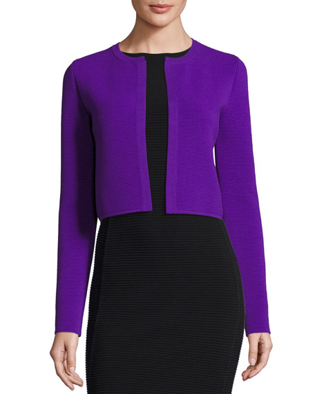 Ottoman-Knit Shrug Jacket, Purple