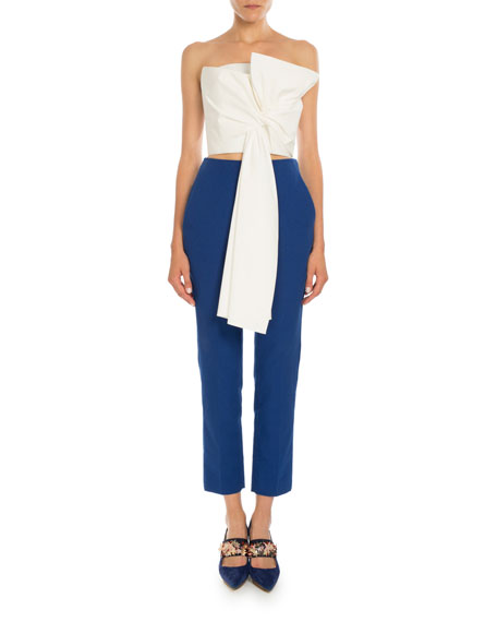 Cropped Straight-Leg Pants, Sapphire Blue