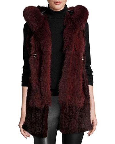 Hooded Mink Fur Vest w/ Fox Fur Trim