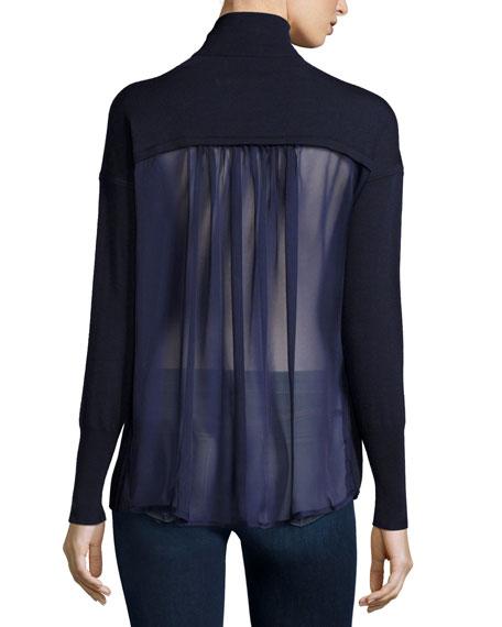 J Brand Clinton Long Sleeve Combo Sweater Navy