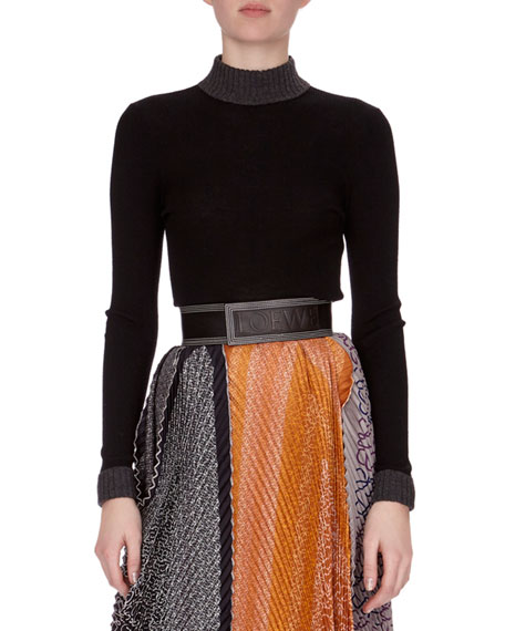 980f2e5db1c Loewe Pleated Mixed-Print Midi Skirt w/Logo Belt, Orange Pattern and  Matching Items