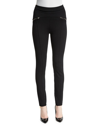Seamed Zip-Trim Leggings, Black