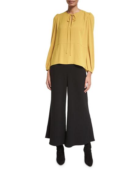 Flat-Front Wide-Leg Culotte Pants, Black