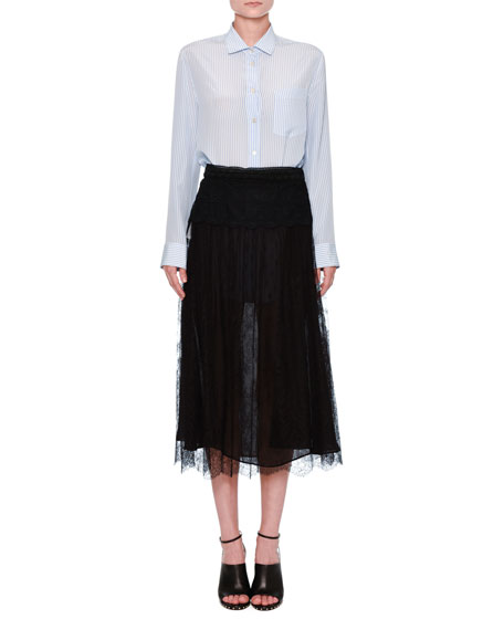 Lace A-Line Midi Skirt, Black