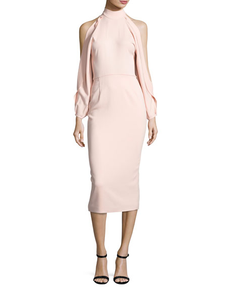 Bell-Sleeve Mock-Neck Sheath Dress, Shell