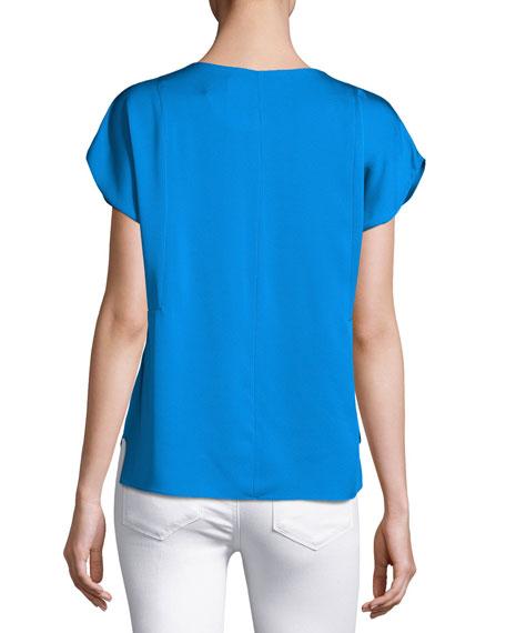 Short-Sleeve Seamed V-Neck Stretch-Silk Top