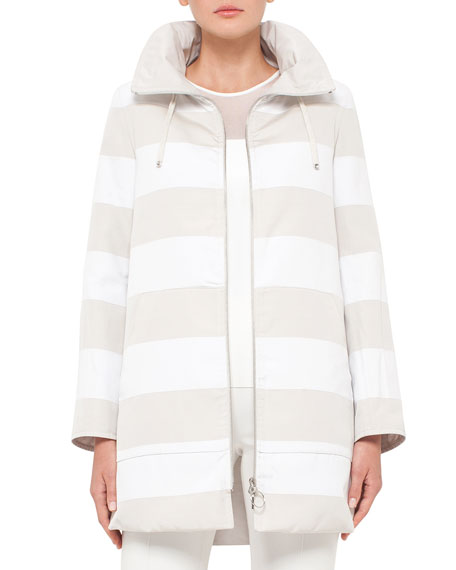 Akris punto Reversible Striped Parka Jacket