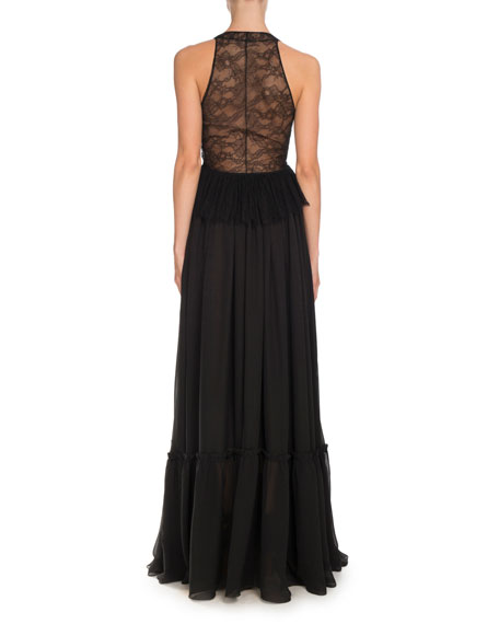 Sleeveless Lace-Trim Halter Gown, Black