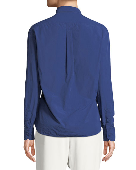 Boyfriend-Fit Cotton Blouse, Azur
