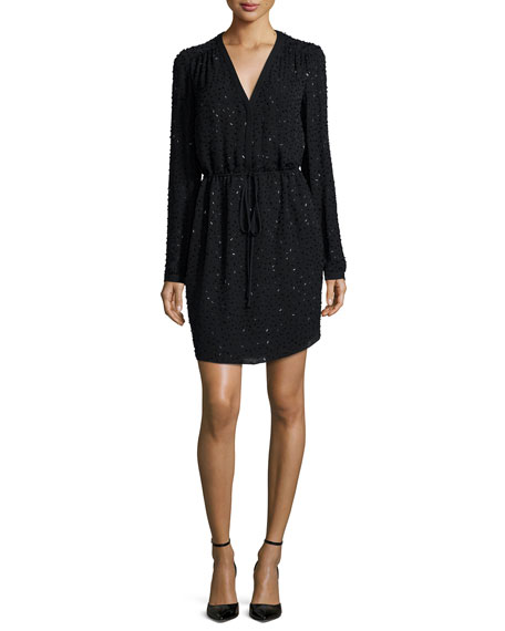 Diane von Furstenberg Long-Sleeve Beaded Shirley Dress, Black