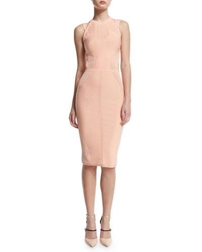 Sleeveless Cutout Dress w/Ribbed Trim