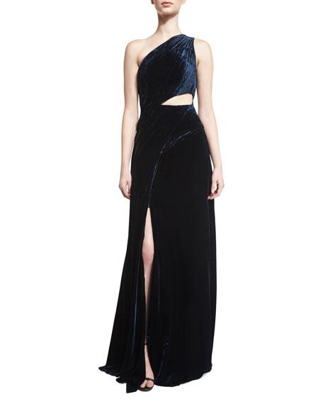 Tess Sleeveless Cutout Evening Gown, Midnight
