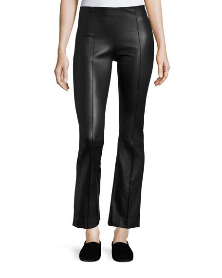 Beca Seamed Leather Pants, Black