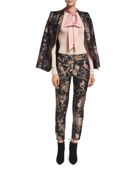 Stacey Floral-Print Ankle Trousers, Burgundy